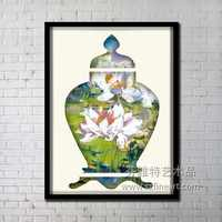 Wholesale Modern green Abstract Oil Painting and Home Accessories