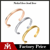 2017 Polishing Stainless Steel Grooved Tricolor Open Cuff Bracelet Women Elastic Tie Hair Band Bangle