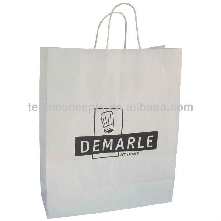 recycle white kraft paper carrier gift bags