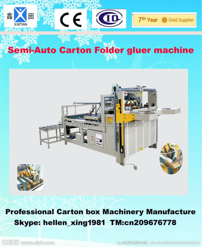 Semi automatic Carton folder gluer machine