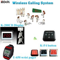 Hot Sell K-200CD Display Hotel Table Bell With Watch 100% Waterproof Call Button Restaurant Table Call System