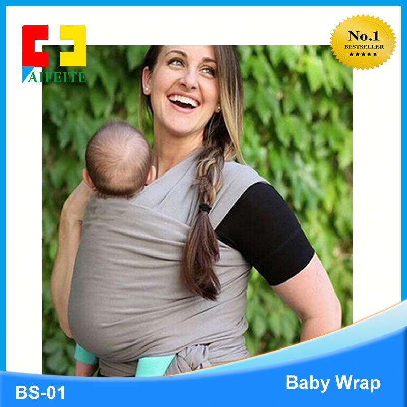 Wybrace Organic Cotton Material Infant Swaddle Stretch Wrap Carrier Baby Sling for Newborn