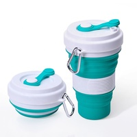 Wholesale new design BPA free reusable water cup 550ml silicone travel folding collapsible coffee cup