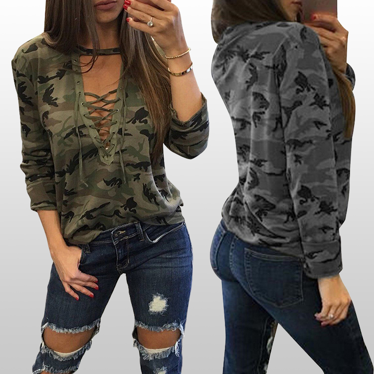 Fast delivery slouchy grey camouflage blouses for women summer 2017