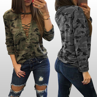 Fast delivery slouchy grey camouflage blouses for women summer 2019