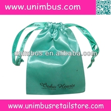 Polyester Satin Pouch With Printed Ribbon Drawstring