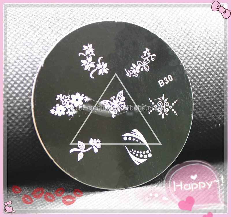 2016 Hot newest design stamping nail art plates , tainless steel stamping plates painted plate designs