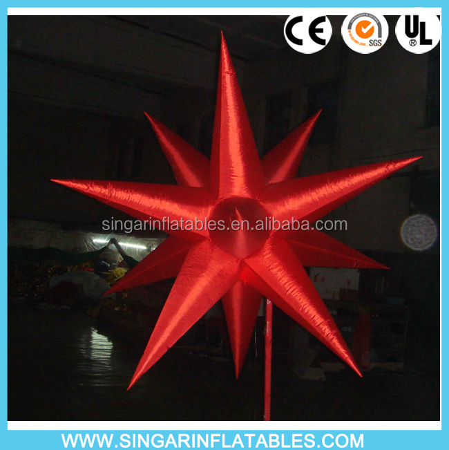 Free shipping infltable decorative hanging stars star shape LED inflatable balloon