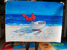 Handmade modern sea and boat on beach oil painting on canvas