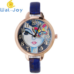 WJ-7053 Aliexpress Hot Selling Rose Gold Case Girls Watches Bright Leather Ladies Handwatches OEM Quartz Wrist Watches