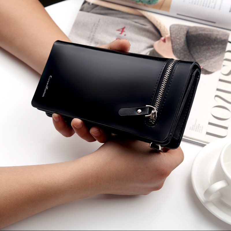Wallet Men PU Leather Long Zipper Purse Business Style CUREWE KERIEN Wallet 2017 New Card Cash Receipt Holders Card ID Holders