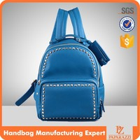 T-3704 2016 Blue PU leather beaded fashion custom backpack brands bag for teenagers