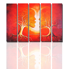 Factory Price Abstract Face Oil Painting 5 pieces Group Canvas Painting Stretched