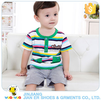 Comfortable 100% cotton cute summer baby boy outfits clothes set