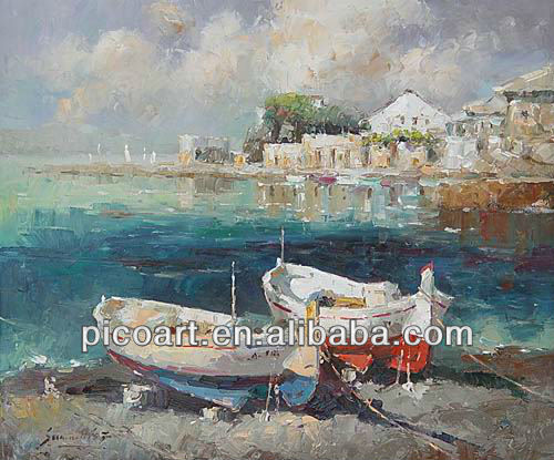 Hand painted impressionist seascape oil painting on canvas for decoration