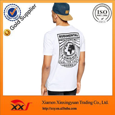 custom private label clothing screen printed tshirts white cotton rounded hem t shirt overseas t shirts wholesale