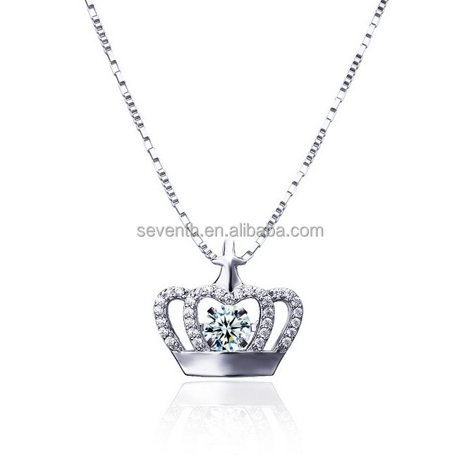 White gold plating clear cubric zircon brass dancing diamond crown pendent necklace