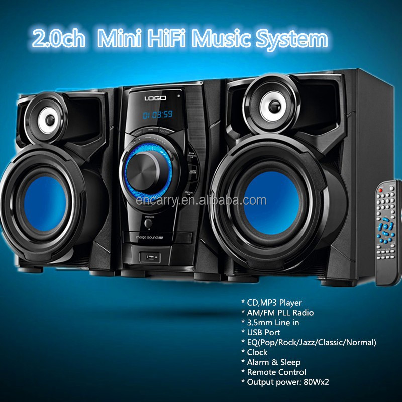 2.0 ch Mini HiFi Music System for Home Music System with AM/FM/USB/Line-In/Clock/Alarm/Remote