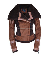 C22123B Latest Design Wholesale Women Winter Brown Leather Jackets