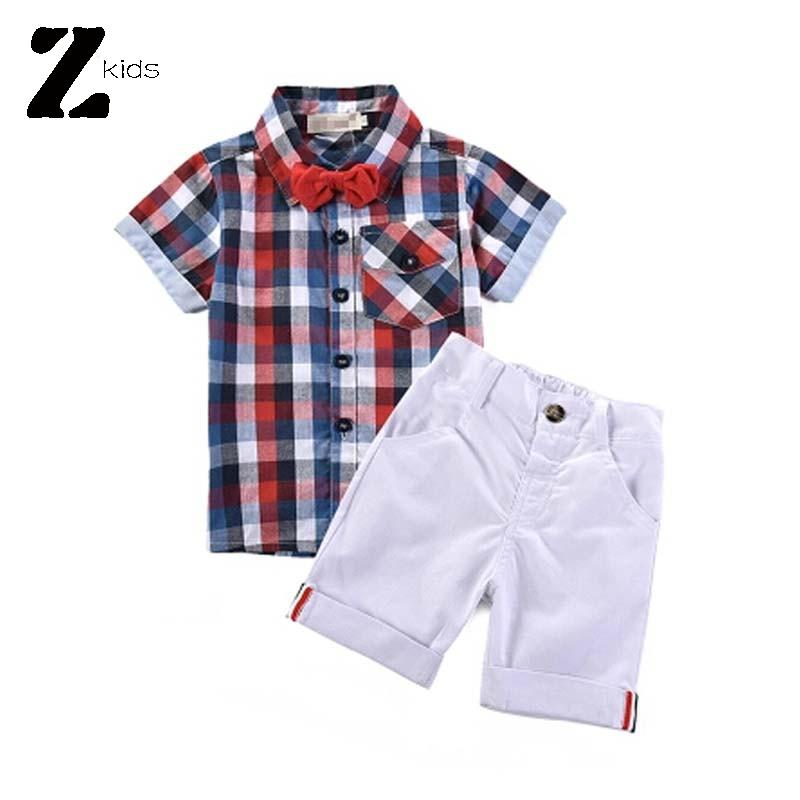Summer Style 2 Pcs Boy Clothing Set Blouse Kids Clothes Brands Plaid Shirts With Bow + Short Pants Gentleman Kids Fashion Retail