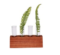 Set Of 4 Decorative Glass Bottles Wholesale Flower Vase Holder With Wood Stand For Home Decoration Wedding Decor