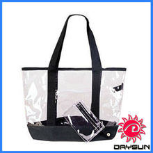 New clear PVC shopping tote bag with black trim and coin purse