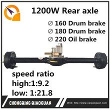 China spare parts supplier 1200w rear axle with differential assembly for tricycle