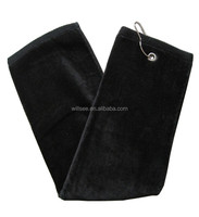 ST-7,100% cotton custom embroidered tri fold golf towel with grommet and clip