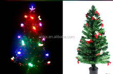Plastic Fruit And Red Bowknot Fiber Optic Pre Decorated Christmas Tree, Electric Decoration Christmas Tree