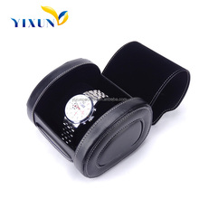 Hot Selling Fashion Black Leather Watch Case Travel Roll, Luxury Real Leather Watch Roll Travel Case