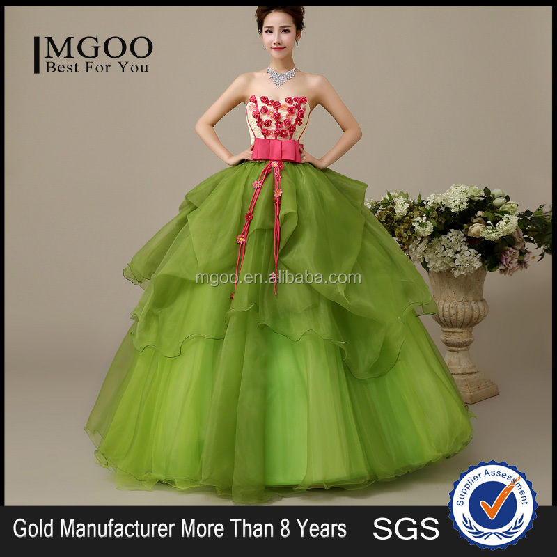 MGOO Factory Custom Made One Piece Cheap Price Prom Dress Strapless Flowers Ball Gown Maxi Dress L000110