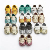new arrival sequin baby moccasins genuine leather baby bling shoes glitter girls toddlers baby shoes