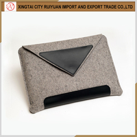 Alibaba top products fashional light grey felt laptop sleeve with leather