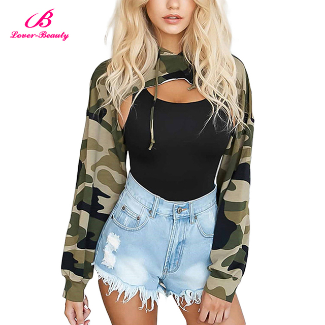 High Quality Army Green Camouflage Hooded Ladies Women Gym Crop Top