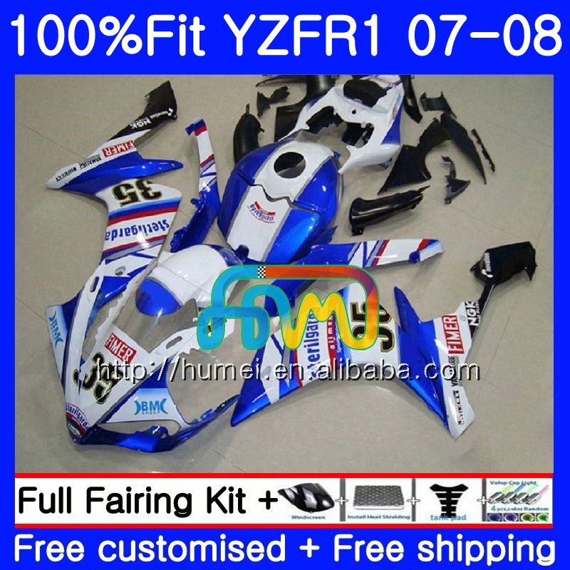 Injection Bodys For YAMAHA YZF 1000 R 1 YZF <strong>R1</strong> 07 08 90HM29 blue white YZF1000 YZFR1 07 08 YZF-1000 YZF-<strong>R1</strong> 2007 <strong>2008</strong> Fairing