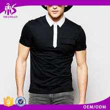 Shandao Manufacturer New Design Men Fashion Short Sleeve Black Slim Fit 10g 100% Polyester Funny Golf Polo Shirts