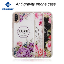 For iPhone X New Love Flower Design Anti Gravity Nanomaterials cover Nano Suction Phone Case