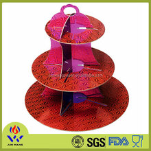 Red color paper cake stand for birthday party decorations