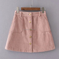 Fashion new designs casual girl embossed stripe corduroy mini skirt