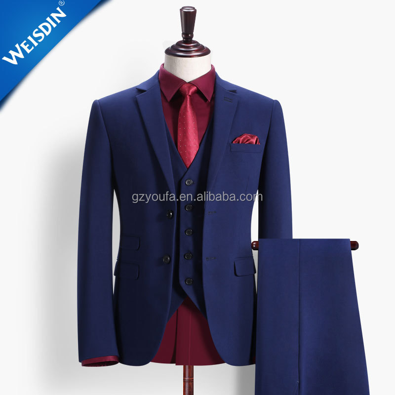 Latest design top brand men's coat pant designs wedding suit blue 3 piece coat pant men suit