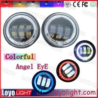 New design White Red Blue halo ring 4.5 inch fog light , led fog lamps with angel eyes for Harley motorcycle