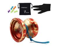 MAGICYOYO Authentic N12 Shark Honor Yo-yos with Bag+ 5 Strings + Glove for Gift Toy <strong>yoyo</strong>, Aluminum (Red with Golden)