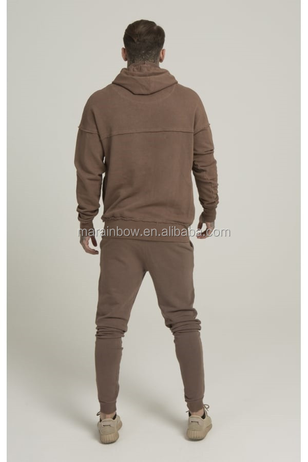 100% Cotton Raw cut Overhead Pullover Hoodie Brown Men's Full Tracksuits Tapered Jogger Pants OEM Tracksuit Tops and Bottoms