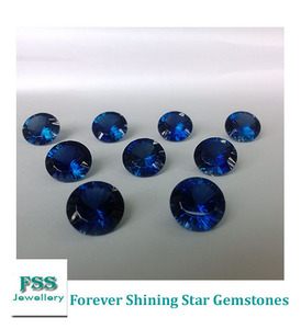 Lab Created Blue Sapphire Round Concave Cut Blue Corundum Stone 12mm*12mm For Wholesale