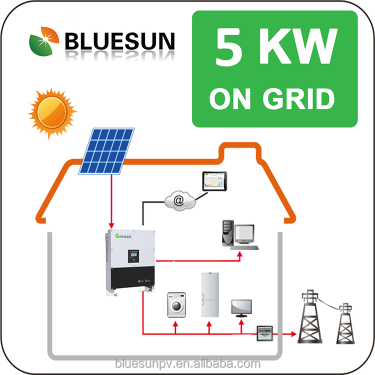 Bluesun professional Grid-tied 5kw solar system solar panel silicon crystalline