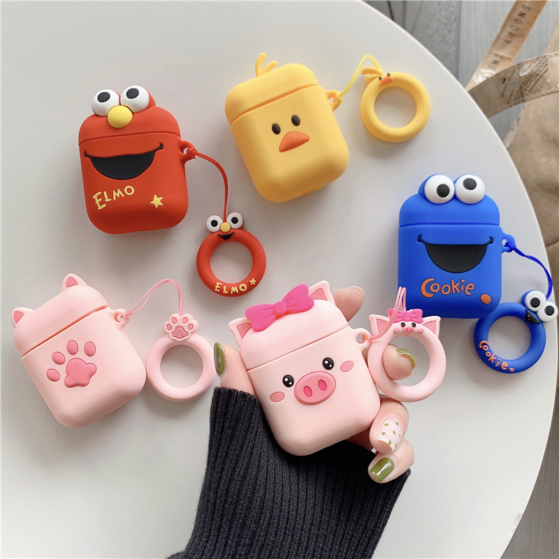 For AirPods Case 3D Cute Cartoon Earphone Cases For Apple Airpods 2 Funny Accessories Protect Cover with Finger Ring Strap