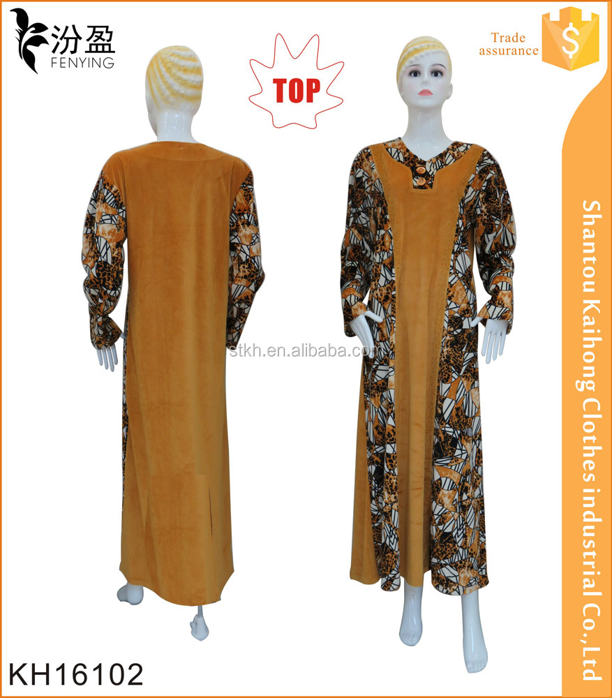 fashion women jilbab design long sleeve abaya with match print color