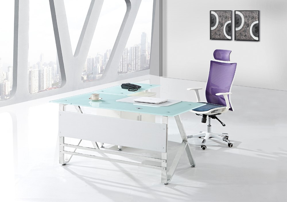 black tempered glass executive office glass chrome desks