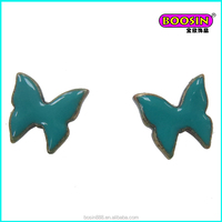 Chinese manufacturer wholesale top design butterfly shape fancy stud earring jewelry for girls #21855