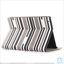 2014 New Arrival Horizontal Stripe Pattern Flip Leather Stand Case for iPad Air 2